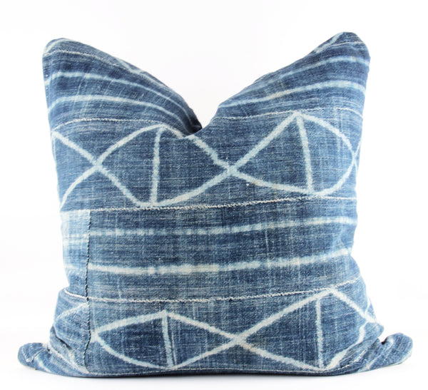 Admired in Indigo Mudcloth Pillow  22