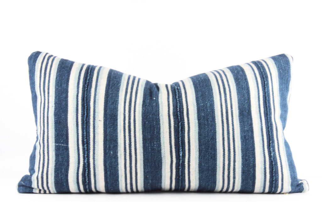 Blue Stripes Mudcloth Pillow  Small Lumbar front