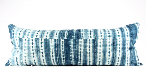 blue with blue stripe mud cloth pillow