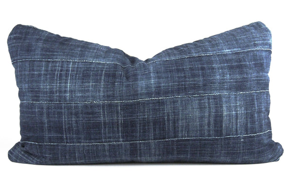 Solid Indigo Mudcloth Pillow  Medium Lumbar front