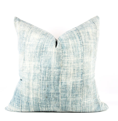 Powder Solid Indigo Mudcloth Pillow  22