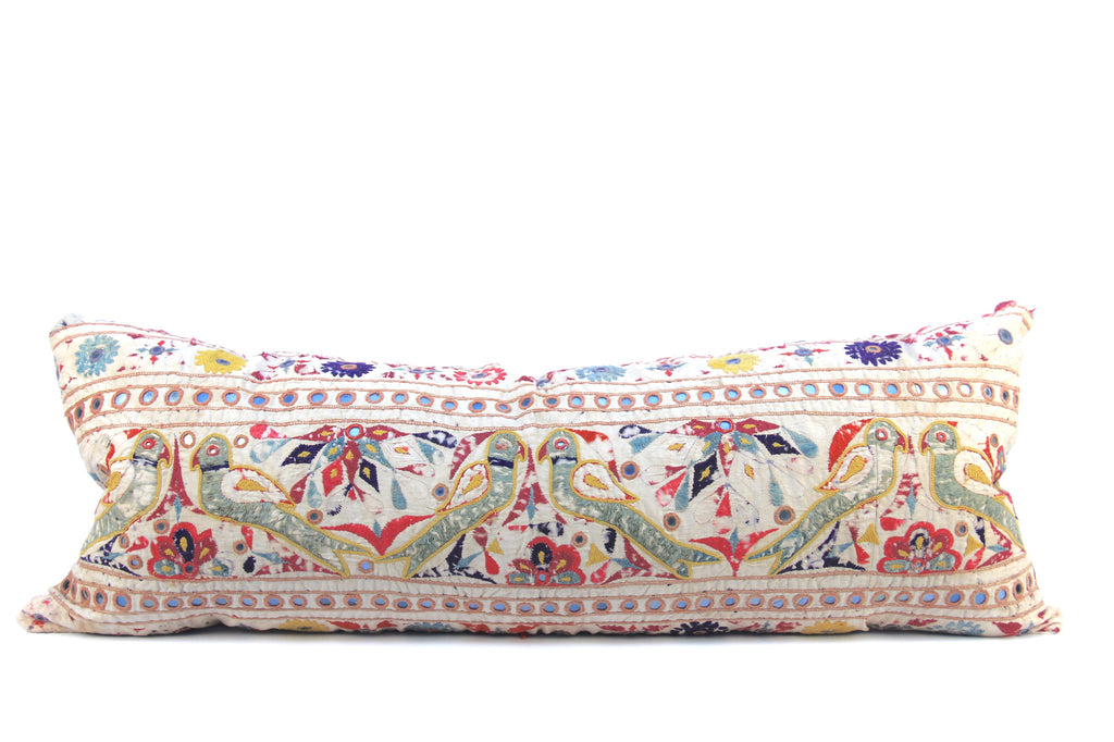 Embroidered Boho Birds Pillow  Large Lumber