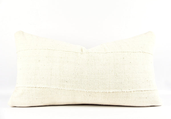 Solid White Mudcloth Pillow  Medium Lumbar