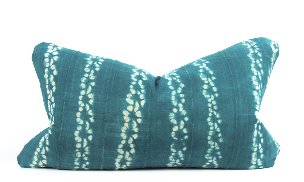 Green Shibori Mudcloth Pillow  Medium Lumbar