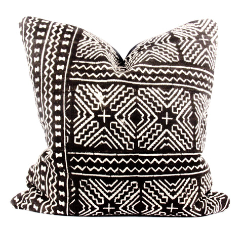 Maze Black Mudcloth Pillow  24