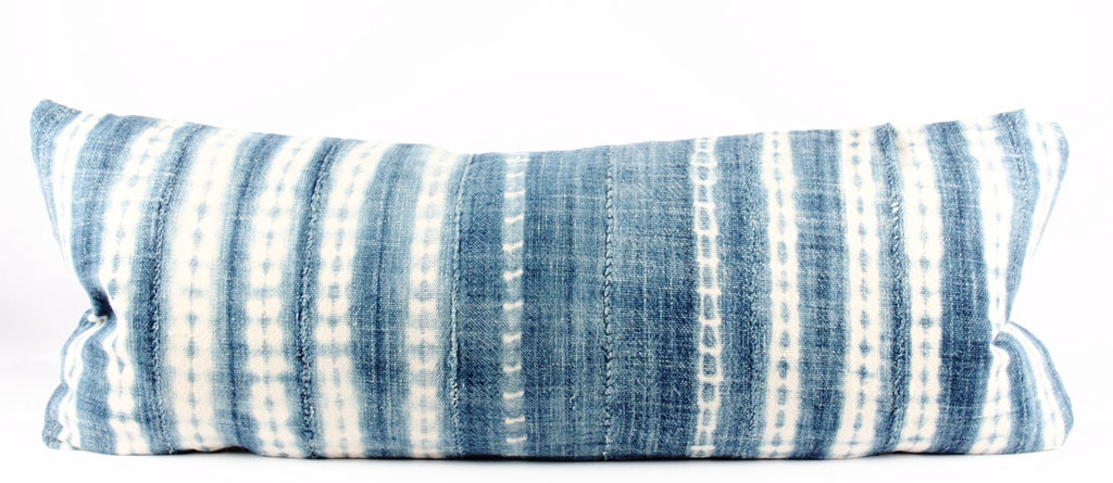 Blueberry Indigo Mudcloth Pillow  Large Lumbar front