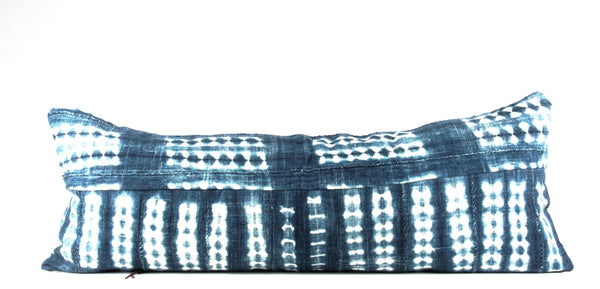 mixed stripe indigo mudcloth pillow