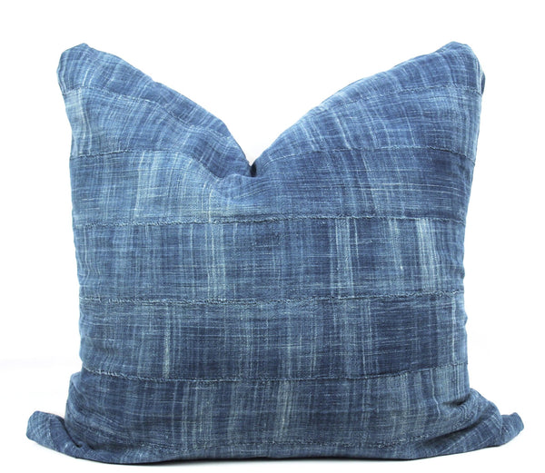 Solid Indigo Mudcloth Pillow  24