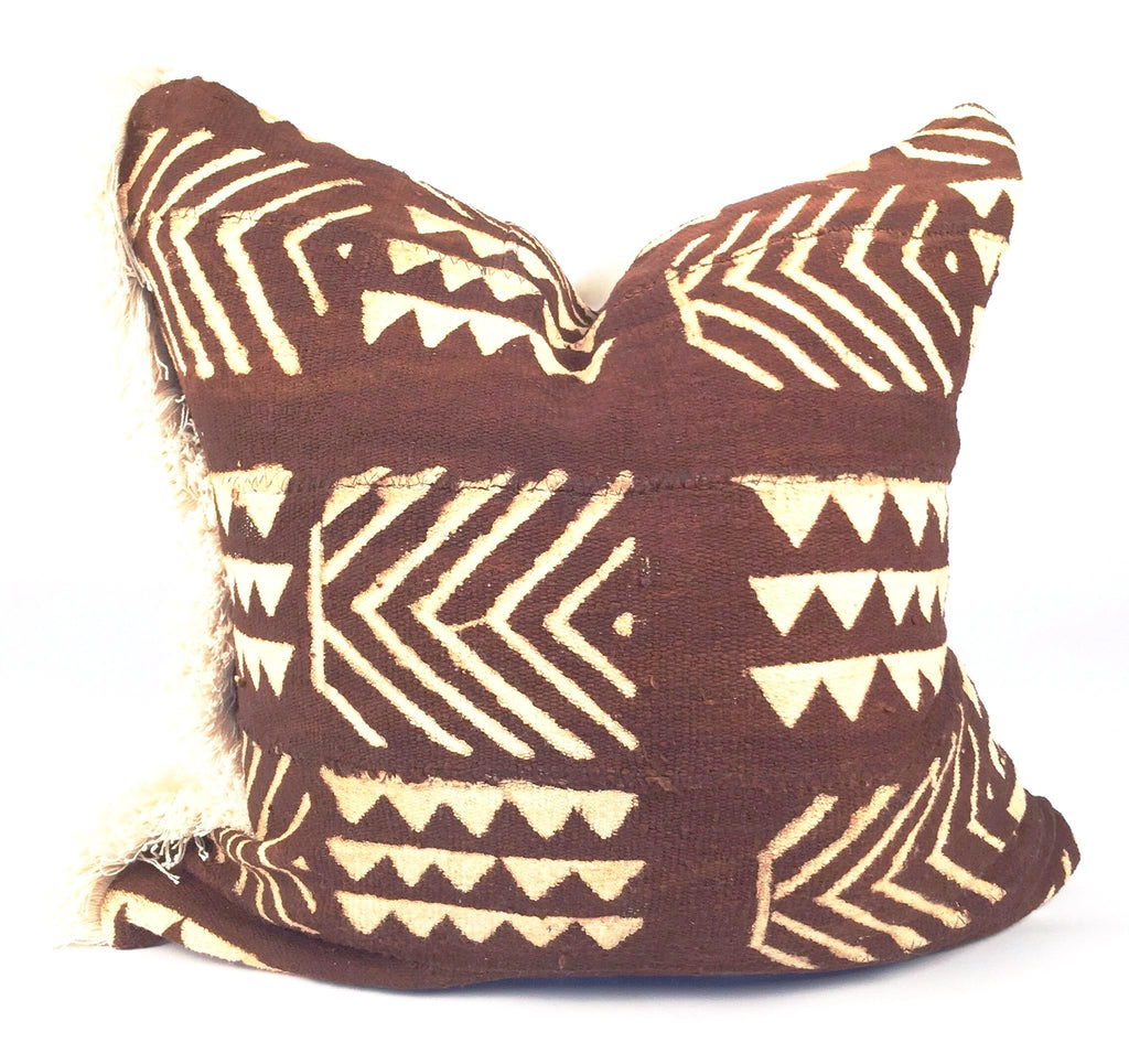 Fringe Chocolate Brown Mudcloth Pillow  20