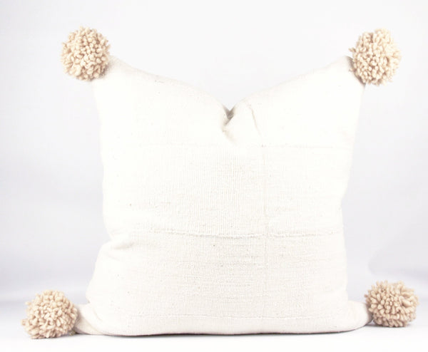 Nude Pompom MudCloth Pillow  custom sizes front