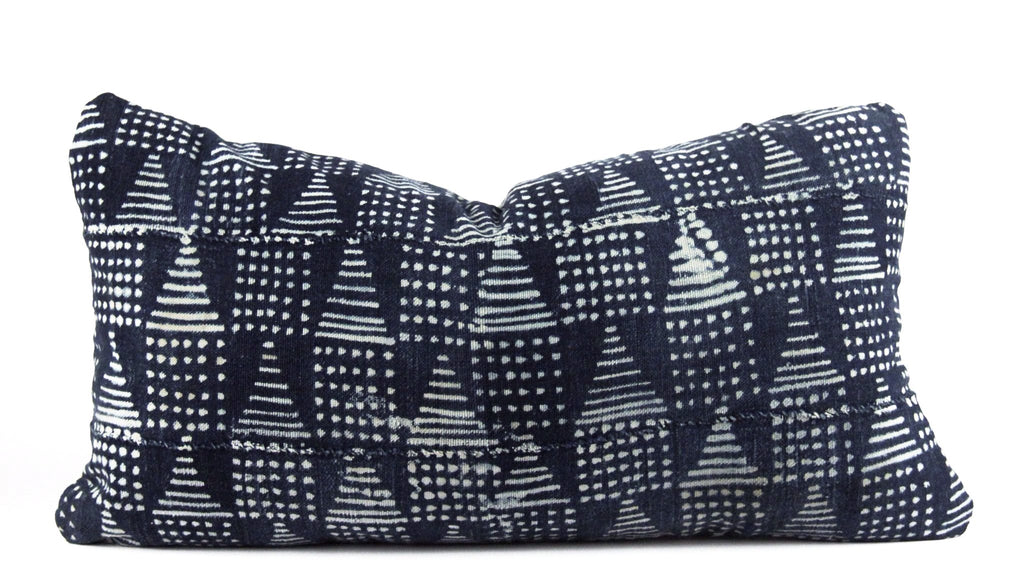 Blue Pyramids Mudcloth Pillow  Small Lumbar front