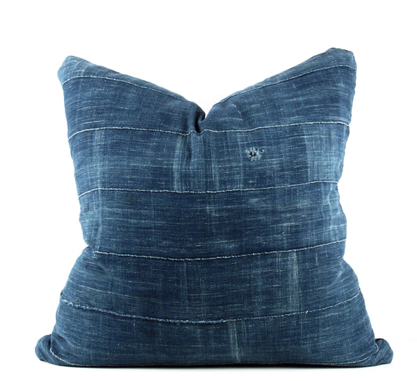 Rugged Solid Indigo Mudcloth Pillow  22