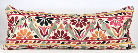 Bohemian Birds Embroidered Pillow  Large Lumber front