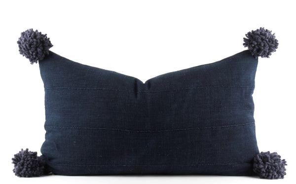 Navy Pompom MudCloth Pillow  Medium Lumbar front