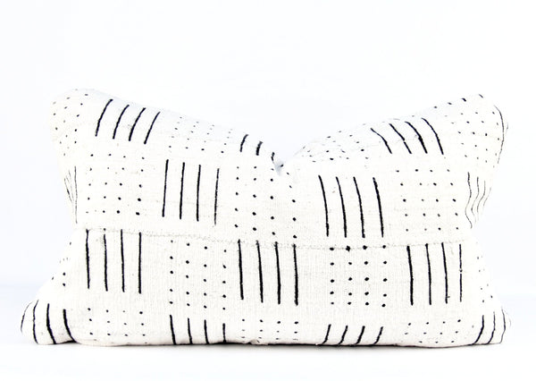 Lines Ivory Mudcloth Pillow   multiple size lumbars