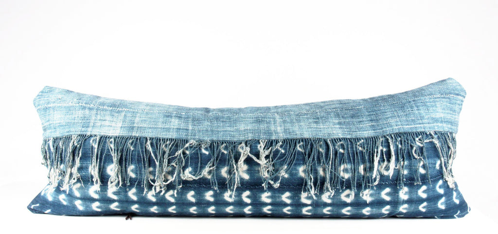 fringe large lumbar indigo pillow