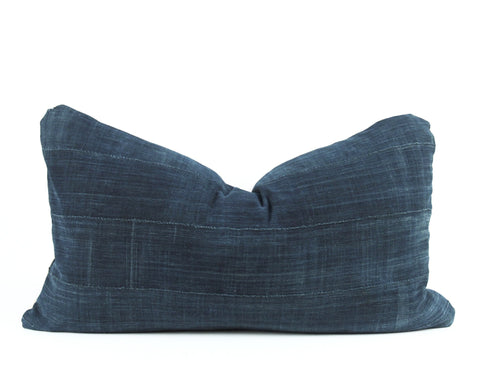 Solid Deep Indigo Mudcloth Pillow   multiple size lumbars