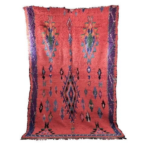 Authentic Vintage Moroccan Tribal Boucherouite Rug 7' 5