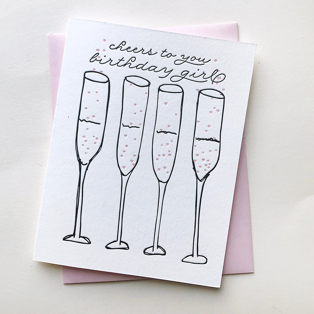 Letterpress birthday card - Cheers Birthday Girl