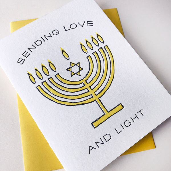 Menorah Love Light - Steel Petal Press Letterpress Card