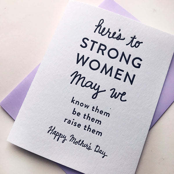 Letterpress Mother's Day Card - Strong Mother's