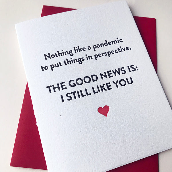 Letterpress Greeting Card Good News Pandemic