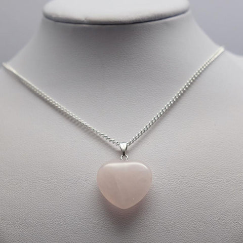 Heart Rose Quartz Crystal Pendant Necklace