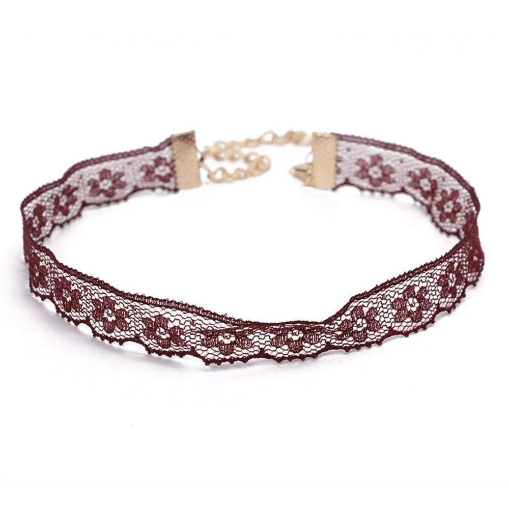 Blooming Burgundy Lace Choker