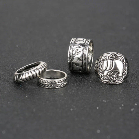 Elephant 4 Ring Set