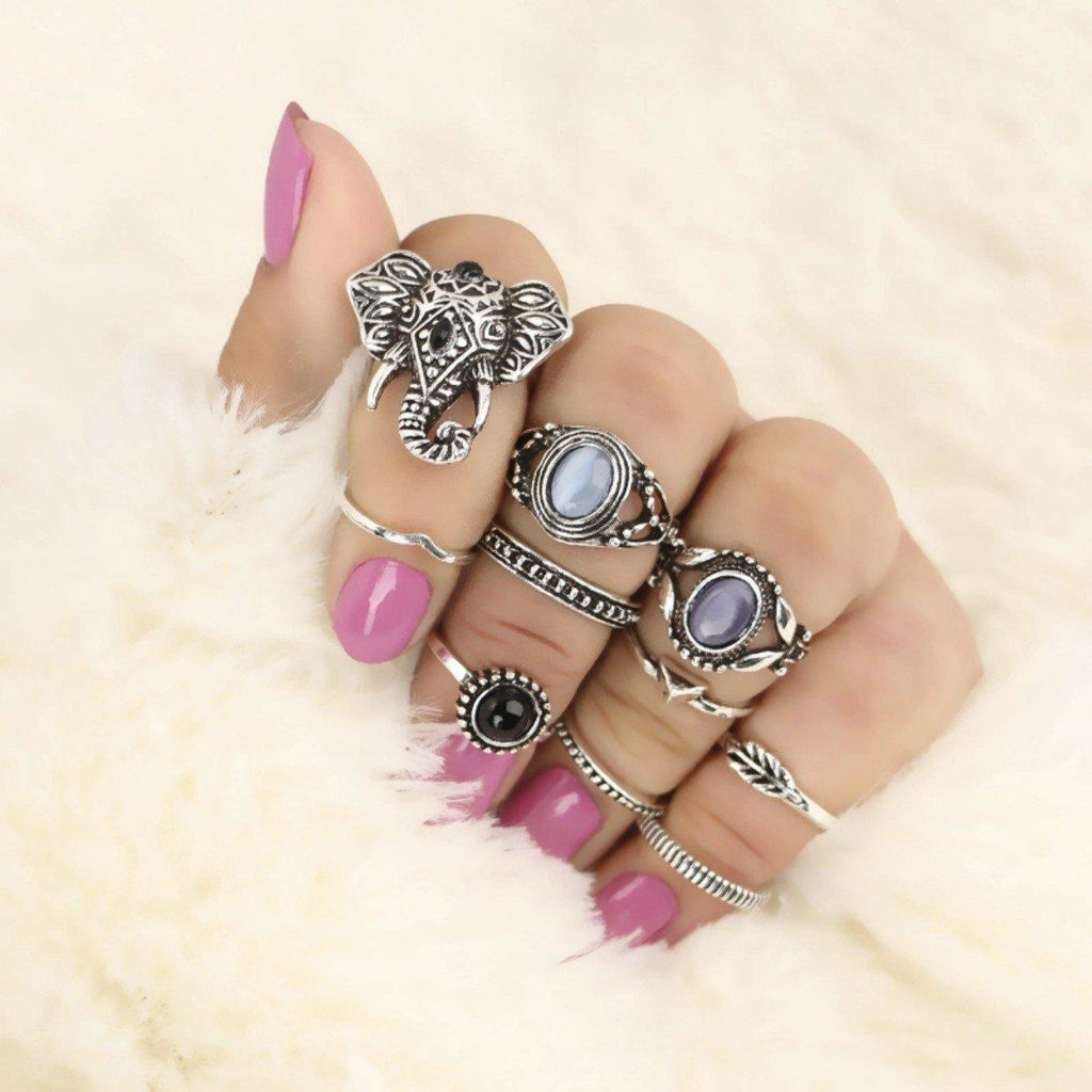 Elephant Head Ring Set