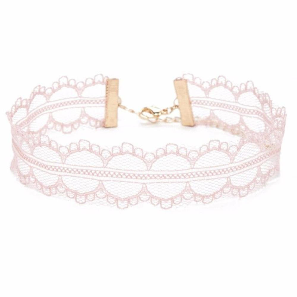 Pink Sunrise Lace Choker