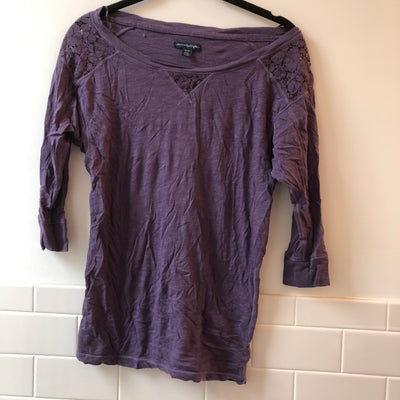 Purple Lace Applique 3/4 Tee