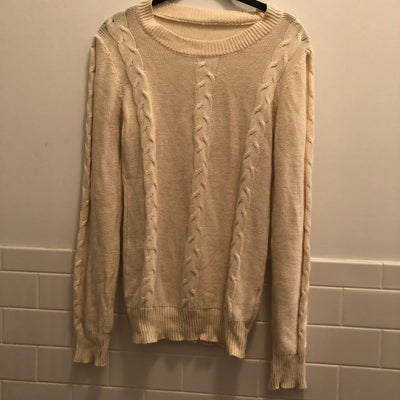 Brandy Melville Cream Oversize Cableknit Sweater