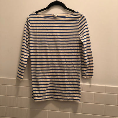 Boatneck Cream and Blue Striped Shirt