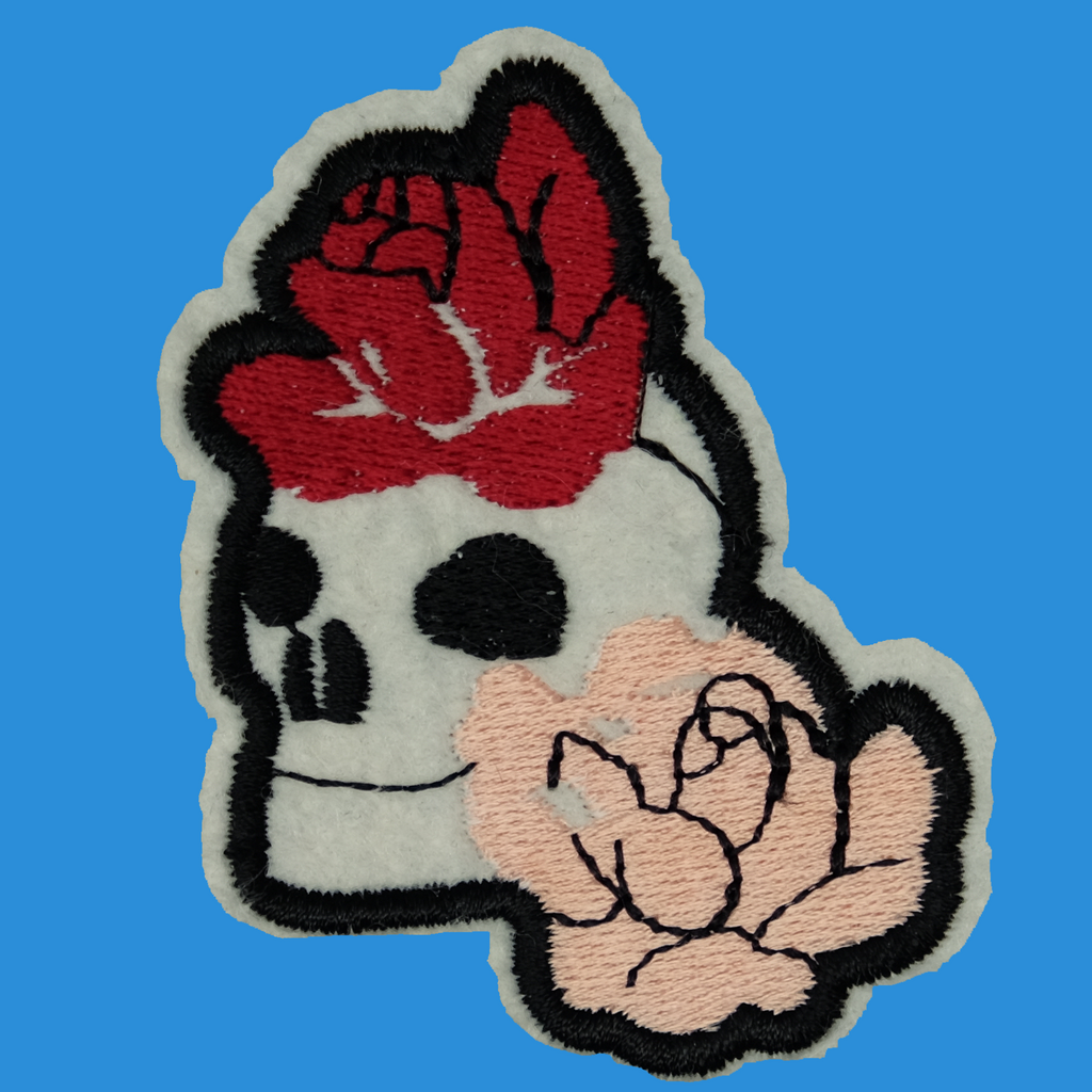 Roses and Skull Iron On Patch
