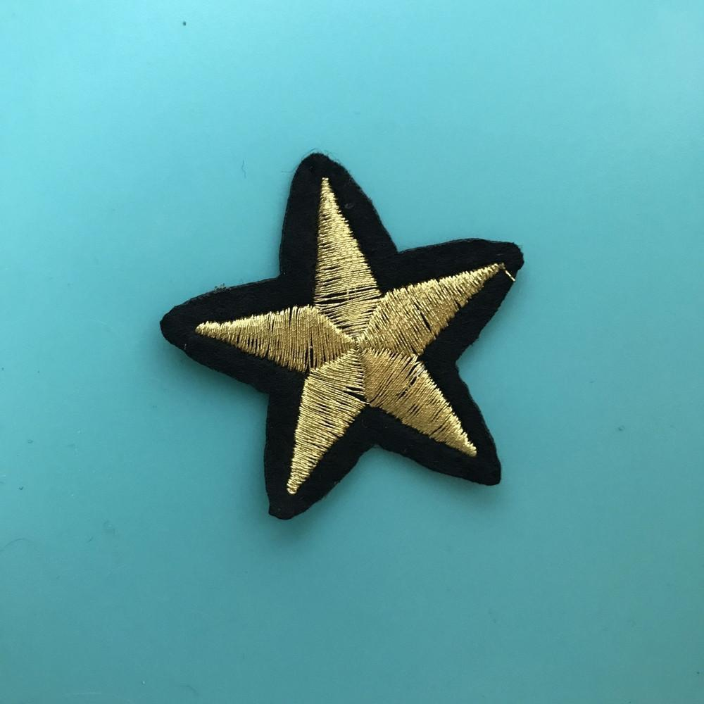 Gold Star Iron On Patch