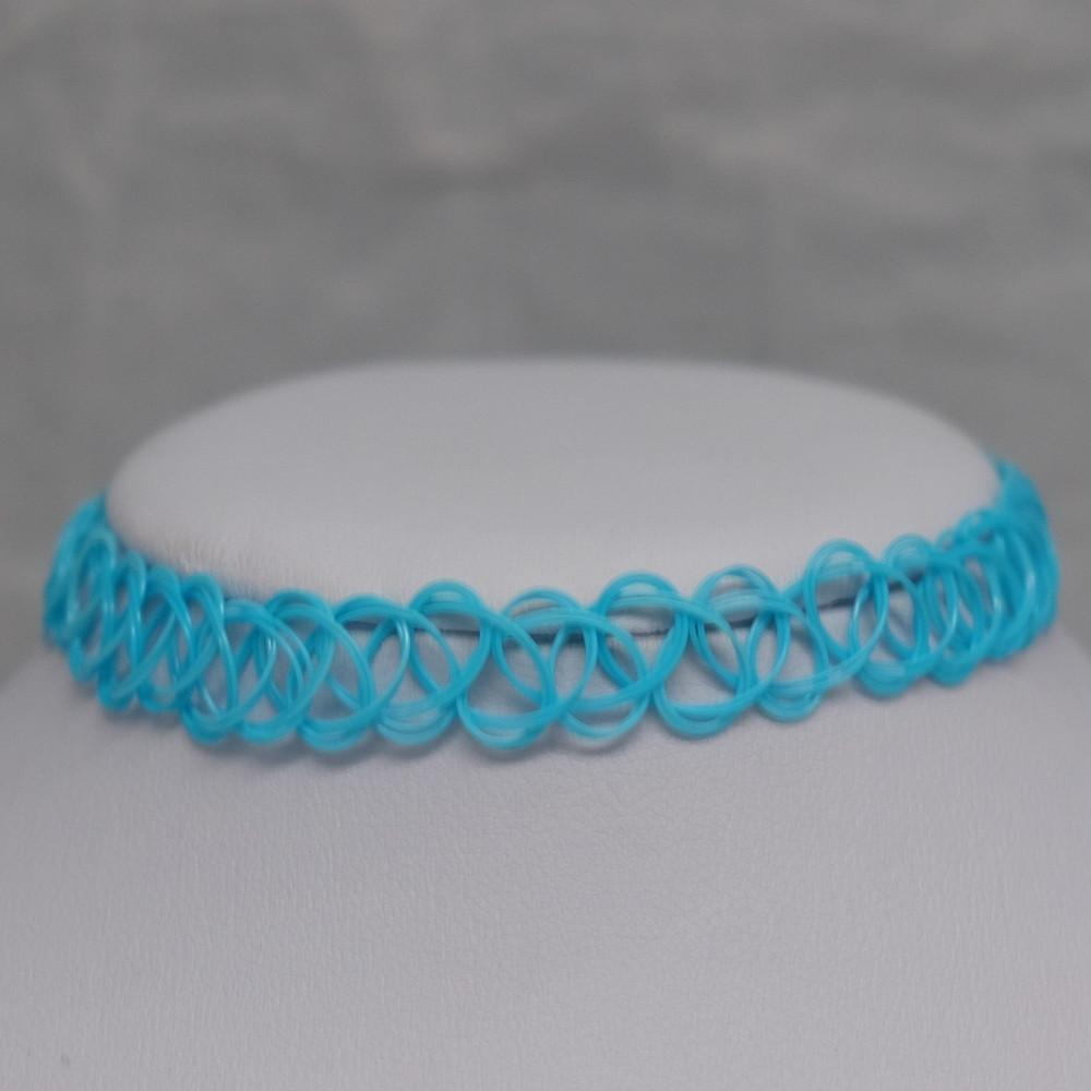 Solid Bright Blue Tattoo Choker