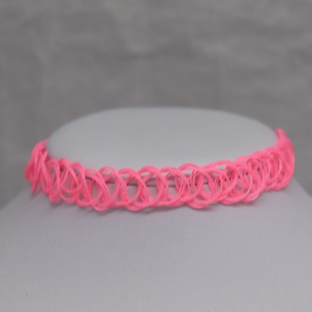 Solid Hot Pink Tattoo Choker