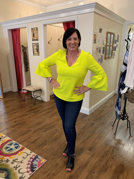 Anna Cate Emily Top in Yellow Lime