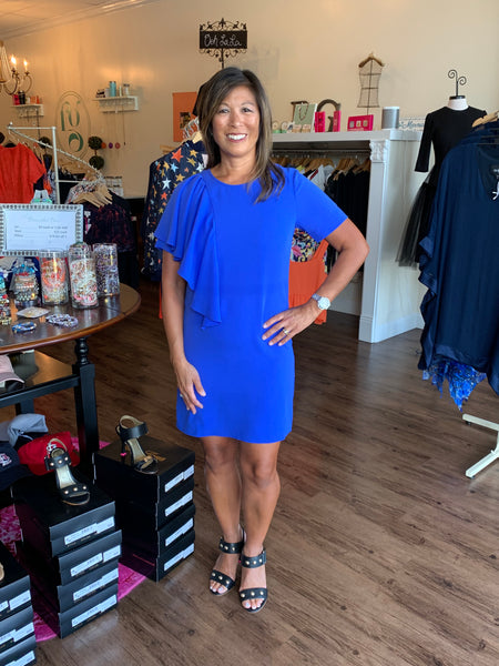 Crosby Jeni Dress in Blue