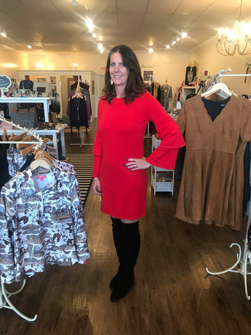 Sail to Sable Sweater Dress in Red