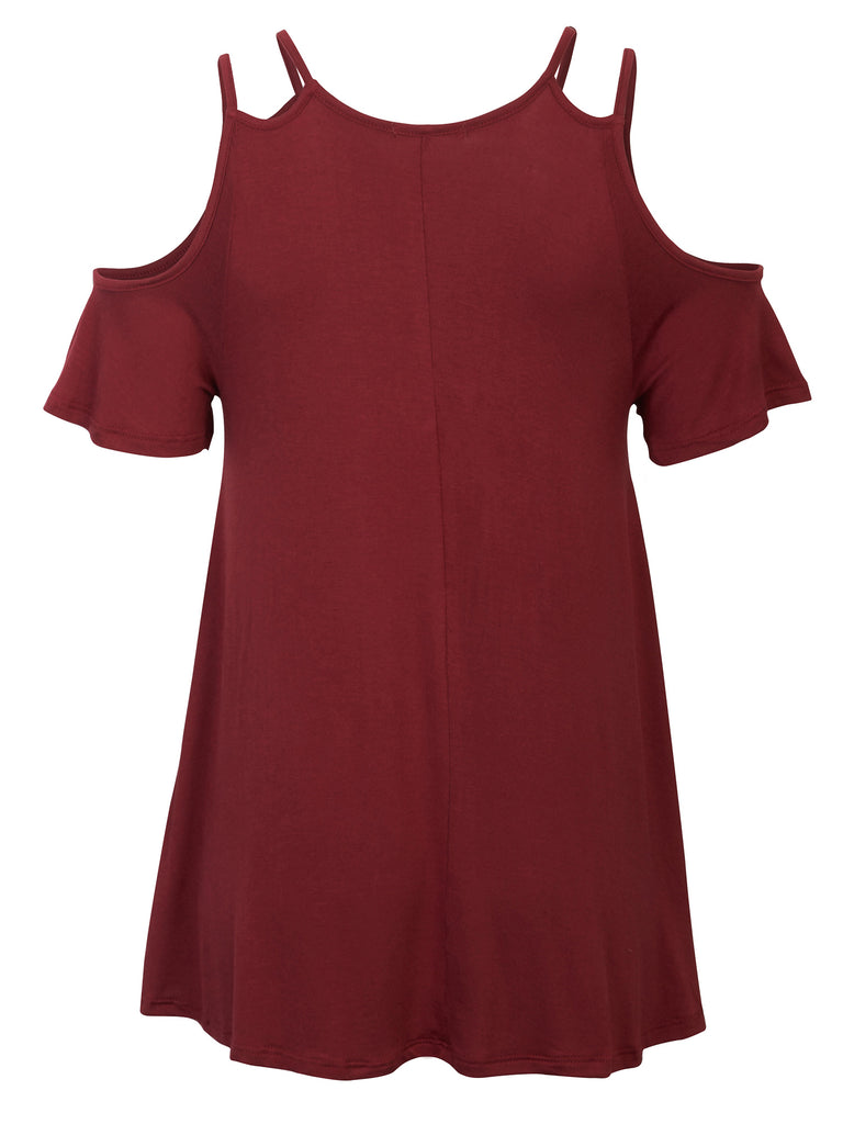 KOGMO Womens Cold Shoulder Short Ruffle Sleeve Tunic Top With Bow Hemline
