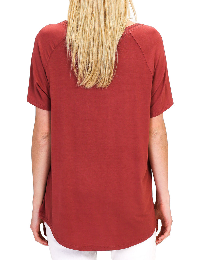 Women's Lightweight V-Neck Loose Fit Plain Casual Tunic Top Tee