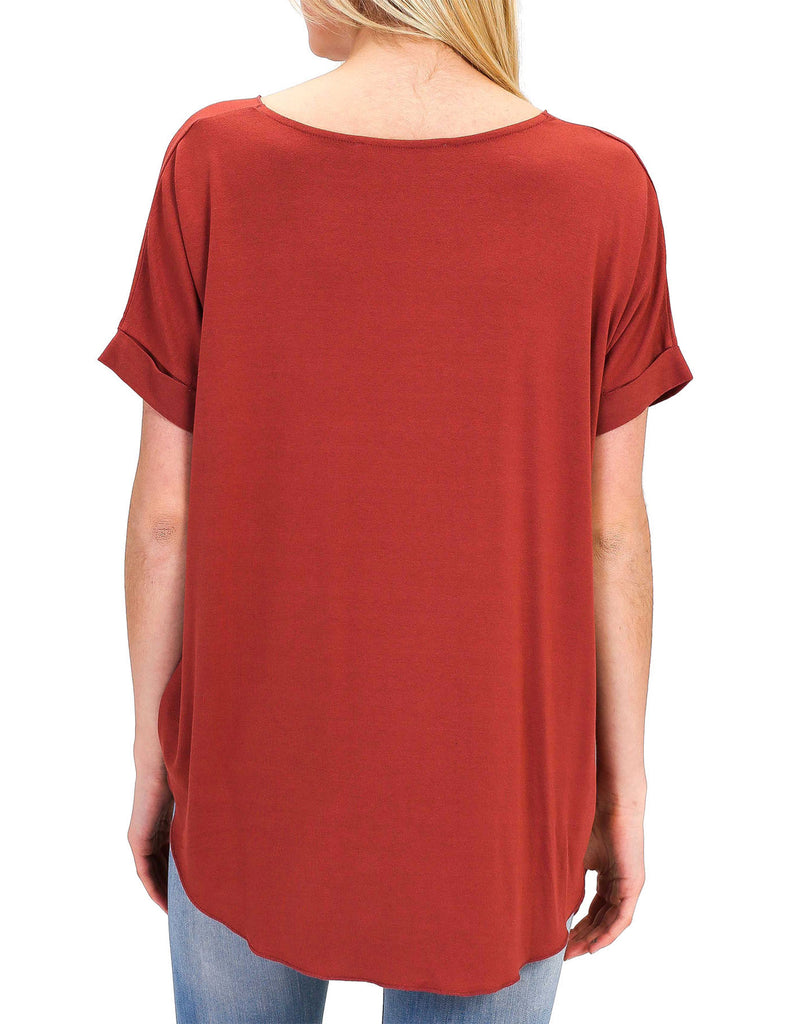 Women's Casual Draped Surplice V-Neck Top with Roll Up Sleeve