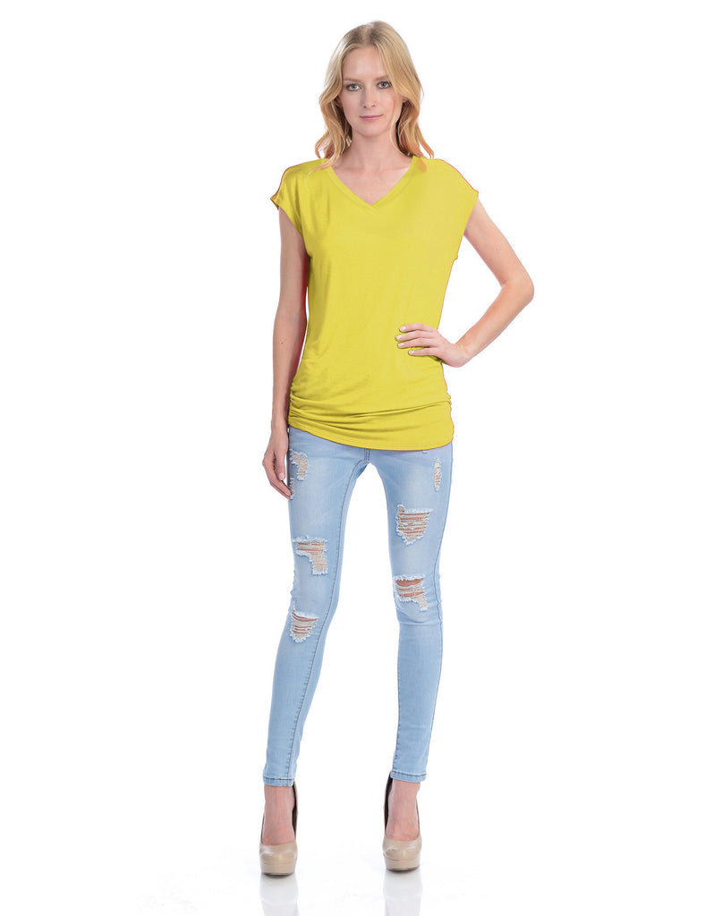Short Sleeve Solid Basic Tunic Top Tee with Side Shirring V neck
