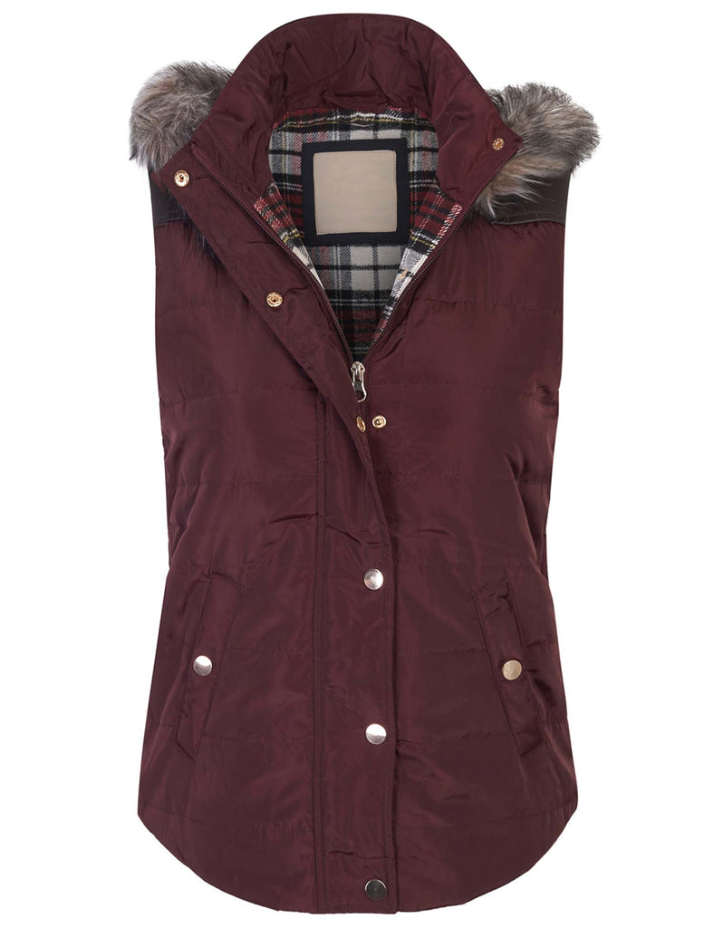 Quilted Puffer Hoodie Down Vest with Plaid Lining