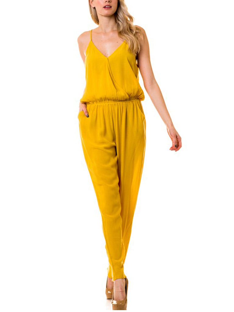 KOGMO Womens Casual Adjustable Spaghetti Strap Front Wrapped Jumpsuit Overalls