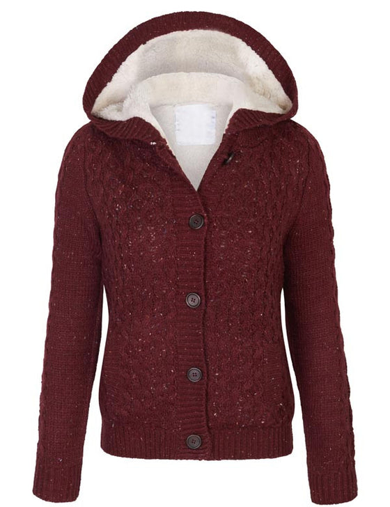 Retro Vintage Hooded Cable Knit Sweater Cardigans with Faux Fur Lining