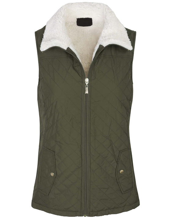 High Collar Faux Fur Lined Quilted Padding Zip Up Vest