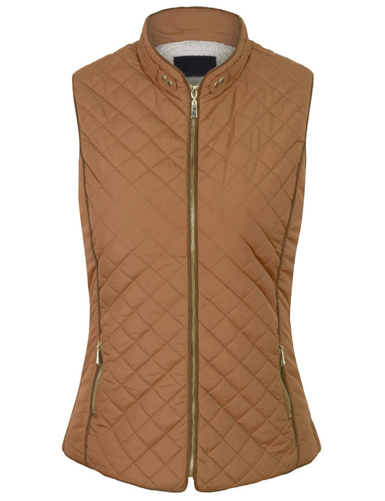 Faux Fur Lined Quilted Padding Zip Up Vest (S-3X)